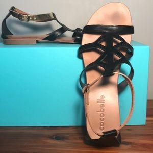 Coco Belle Vero Cuoio Black/Gold Leather Sandals